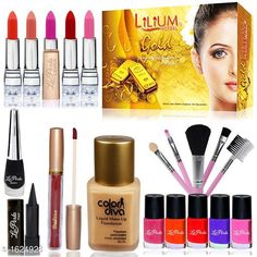 Makeup Kits Premium Choice Makeup Kit Combo Product Name: Summer Vacation Combo Makeup Sets Pack of 15-C378 Product Type: Makeup Kit Combo  Product Description: Get an expert like professional touch with the Combo. The luminous silky formula gives a natural looking radiance to your skin. The products come in an amazing combination of shades that will add a perfect hint of color which will blend effortlessly with your look. This Combo Sets by copy is the All in one set that has all you need for a professional makeup each individual makeup is manufactured with high quality materials Package Contains: It Has 1 Pack Of Makeup Kit Combo Country of Origin: India Sizes Available: Free Size   Catalog Rating: ★4 (249)  Catalog Name: makeup kit Sensational Choice Makeup Kit Combo Vol 4 CatalogID_211442 C51-SC1245 Code: 624-1624928-8562