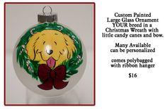 Custom Your Dog Glass ornament 4 inch Wreath by JennysDogArt, $16.00