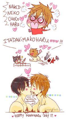 Happy Valentine ... part 2 ... Drawn by racyue ... Free! - Iwatobi Swim Club, haruka nanase, haru nanase, haru, free!, iwatobi, makoto tachibana, makoto, tachibana, nanase