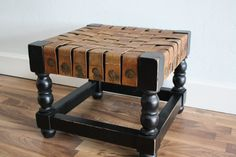 distressed leather bench