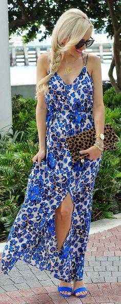 Blue Back Cruise Spotted Split Maxi Dress