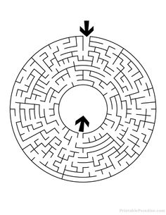 Print Free Circular Maze with Medium Difficulty. Medium Circle Maze with Solution. Printable Puzzles, Printables, Maze Tattoo, Maze Drawing, Puzzle Jewelry, Maze Worksheet, Labyrinth Maze, Maze Design, Maze Puzzles