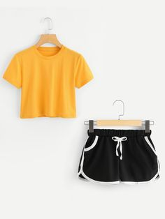 Round Neck Crop Tee With ShortsFor Women-romwe Girls Fashion Clothes, Kids Outfits Girls, Cute Outfits For Kids, Teen Fashion Outfits, Cute Summer Outfits, Pretty Outfits, Cute Comfy Outfits, Sporty Outfits, Cool Outfits