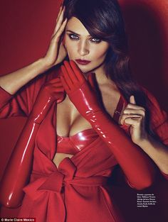 Helena Christensen Scarlet siren: The star poses in a series of sexy red  latex outfits