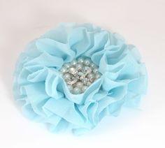 "Baby Blue Chiffon Pearl & Rhinestone Flower- 4"" - Set of 2"