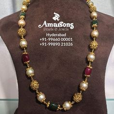 Stunning gold mala studded with gold balls pearl emeralds and rubies.For More Info Whatsapp on : Gold Chain Design, Gold Jewellery Design, Bead Jewellery, Jewelery, India Jewelry, Pearl Necklace Designs, Gold Earrings Designs, Mens Gold Jewelry, Gold Jewelry Simple