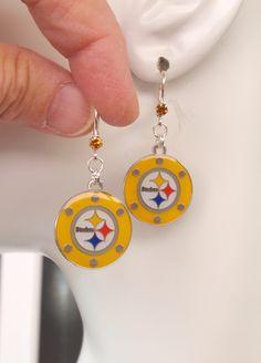 Pittsburgh Steelers Earrings, Steelers Bling, Gold Poker Chip Charm Crystal Earrings, Pro Football Steelers Jewelry Accessory Fanwear by scbeachbling on Etsy
