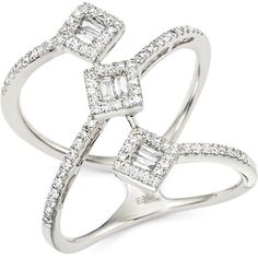 Diamond Round and Baguette Statement Ring in 14K White Gold, .50 ct. ($2,795) ❤ liked on Polyvore featuring jewelry, rings, 14k ring, round ring, baguette diamond ring, cocktail ring and white gold jewelry