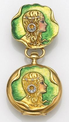 A lady's art nouveau enamel, diamond and eighteen karat gold pendant watch, Tiffany & Co. the open face watch designed with an enameled plaque depicting a lady in profile, with bandeau and earrings set with old European-cut diamonds, together with a brooch of similar design; dial and movement signed Tiffany & Co.