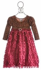 Haute Baby Leopard Dress - Little Girls Velvet Dress  $76