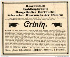 Original-Werbung/ Anzeige 1901 : CRININ HAARWUCHSMITTEL / CHRINIS HANNOVER - ca 100 x 80 mm