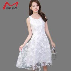 Women Cute White Lace Dresses Female Elegant Square Collar A-line Under-knee Dresses Boho Bohemian Vacation Beach Wear YL599 #Affiliate