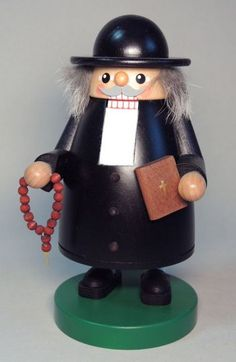 Religious Pastor Priest Holding Bible German Wood Christmas Nutcracker