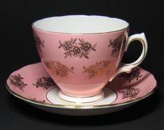 Vintage Colclough Pink Rose Gilt Tea Cup and Saucer