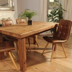 Rustic Reclaimed Wood Dining Set & Leather Chairs - Modish Living