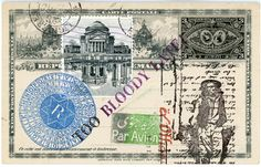 'Too Bloody Late' Original Mail Art by Nick Bantock Decorated Envelopes, Postage Stamp Art, Glue Book, Envelope Art, Handmade Journals, Small Art, Tampons, David Foster Wallace, Old Postcards