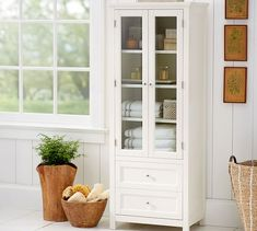 Classic Linen Closet, White At Pottery Barn - Bath - Floor Storage & Cabinets - Floor Storage - Bathroom Linen Closet, Small Bathroom Storage, Linen Closets, Master Bathroom, Linen Cabinet In Bathroom, Pottery Barn Bathroom, Bathroom Towel Storage, Closet Wall, Bath Storage