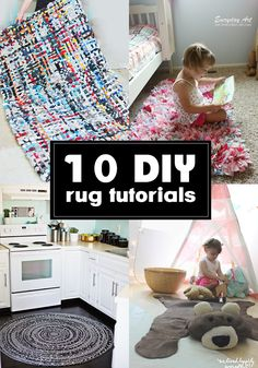 # 10 totally amazing DIY rug tutorials you should see! Diy Tapis, Homemade Rugs, Faux Sheepskin Rug, Rag Rug Tutorial, Modern Playroom, Braided Rag Rugs, Diy Braids, Diy Carpet, Diy Home Decor