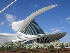 A modernidade das formas do genial arquiteto espanhol Santiago. Calatrava no seu primeiro projeto nos EUA, o museu de arte moderna de Miwaukee