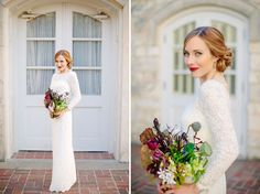 Sarah's long sleeved lace boat neck J. Crew dress was totally to die for! Science-Inspired Austin Wedding: Sarah + Gilliss