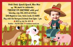 free printable farm party invites | Boy Birthday : Custom Invitations and Announcements for all Occasions ...