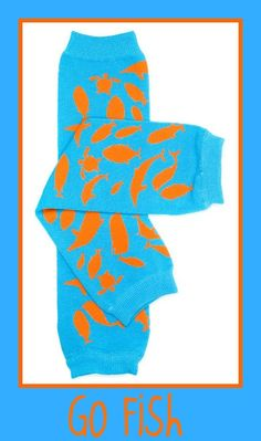 Leg Warmers with Boutique Bows for Baby Infant Toddler by Crybabyz  GO FISH...