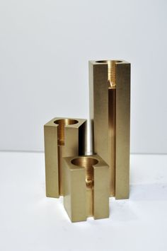 Handmade Brass Candlestick Holder Set - Raw