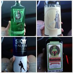 For the space cowboy kitchen's liquor cabinet. Love the puns. Get Drunk with Star Wars Liquors: Obi Wine Kenobi, Qui-Gon Gin and Star Wars Wedding, Star Wars Party, The Force Is Strong, Packaging, Liquor Bottles, Alcohol Bottles, Geek Out, At Least, Geek Stuff