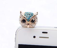 1PC Bling owls dust plug charm headphone plug   by lovelymyphone, $4.99