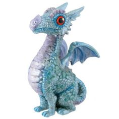 Baby Blue Dragon. www.teeliesfairygarden.com . . . As the fairies entered the Dragon Castle for the dragon ball, they were welcomed by a baby blue dragon that leads them to the ballroom! The enchanted wee folks would love to have this baby dragon in your garden! #dragons