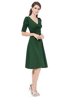 Ever Pretty 3/4 Sleeve Ruched Waist Classy V-Neck Casual Cocktail Dress 03632 at Amazon Women's Clothing store:  https://www.amazon.com/gp/product/B01A5C8HZC/ref=as_li_qf_sp_asin_il_tl?ie=UTF8&tag=rockaclothsto-20&camp=1789&creative=9325&linkCode=as2&creativeASIN=B01A5C8HZC&linkId=77d161782e305b45c392424cb4480bd6