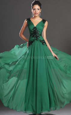 Jade Chiffon A-line V-neck Floor-length Bridesmaid Dresses(NZBD06519)