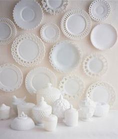 """Milk glass.../"" Against a turquoise wall in my dining room. And paint the dining room furniture distressed black. My mother and I both collected milk glass, I even have pieces from each of my grandmothers. I want to sort it out so I keep and display the pieces I love and ebay the rest. -CAB"