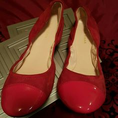 Cole Haan flats Cole Haan brightest red patent & suede flats.  Perfect tag along for heels or stand alone flats. Cole Haan Shoes Flats & Loafers