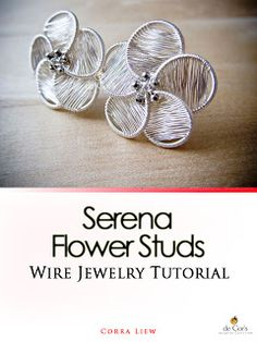 de Cor's Handmades - Malaysia Handmade Jewelry: Serena Flower Studs Earrings - Step By Step Wire Jewelry Tutorial, Project Base Series