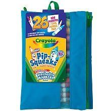 Crayola Pip Squeak, 26CT Purple/Orange Case by Crayola. $11.99. Crayola Pip-Squeaks Mini Washable Markers-26/Pkg. CRAYOLA-Pip-squeaks skinnies fine line washable markers in assorted colors. Includes 14 colors and a doodle pad all stored in a durable zip-up portfolio. non-bleed doodle tablet included.