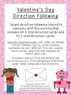 DIRECTION FOLLOWING!!  Target direction following related to concepts with this activity that includes 63 1-step direction cards and 45 2-step direction cards.