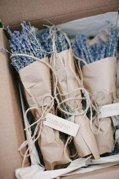 Lovely lavender wedding favors wrapped in brown paper and tied with twine - rustic diy wedding favors - 100 Unique Wedding Favor Ideas Summer Wedding Favors, Unique Wedding Favors, Unique Weddings, Diy Wedding, Wedding Ideas, Spring Wedding, Rustic Wedding, Wedding Tokens, Wedding Flowers