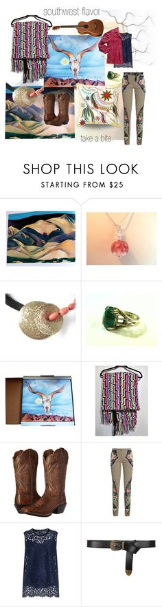 southwest flavor by seasidecollectibles on Polyvore featuring Dolce&Gabbana, Mary Katrantzou, Georgia O'Keeffe first editions, Alberta Ferretti, vintage, handmade, polyvoreset and #etsyevolution