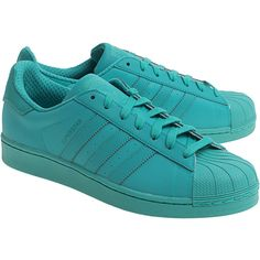 ADIDAS ORIGINALS Superstar Adicolor Mint // Flat sneakers (1.640 ARS) ❤ liked on Polyvore featuring shoes, sneakers, flat shoes, suede sneakers, 80s sneakers, mint flat shoes and adidas originals trainers