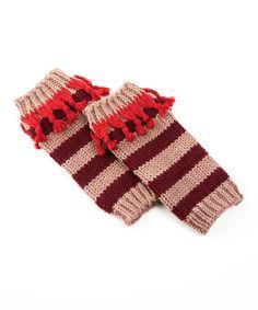 Cherry Stripe Tassel Leg Warmers | zulily