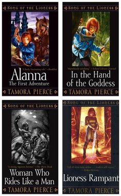 Alana of the SONG OF THE LIONESS series (Tortall) is a great female heroine from Tamora Pierce.  (list includes reading level info)