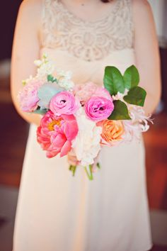 Atlanta Wedding from Arina Borodina Photography / pretty bridesmaid's bouquet and BHLDN dress