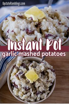 These Instant Pot garlic mashed potatoes are creamy and flavorful. Ready in just 30 minutes they are a delicious side dish that you can make completely in the Instant Pot. Red potatoes are steamed with garlic to make these hearty mashed potatoes. Making Mashed Potatoes, Garlic Mashed Potatoes, My Recipes, Crockpot Recipes, Thanksgiving Food Crafts, Peeling Potatoes, Vegetable Side Dishes, Instant Pot, Holiday Ideas