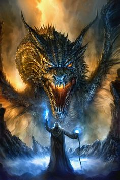 Dragon art inspiration for role play games. Revised Dragon Painting by Chris Scalf on DeviantArt Digital Art Illustration, Dragon Face, Dragon Fight, Fantasy Kunst, Cool Dragons, Dragons Den, Dragon Artwork, Mythological Creatures, Magical Creatures