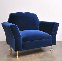 Arturo Pani; Brass-Legged Lounge Chair, 1950s.