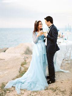Blue wedding dress | Olga Plakitina | see more on: http://burnettsboards.com/2015/09/splendor-shores-caspian-sea/