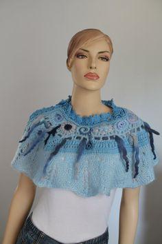 Blue Freeform Knit Crochet Capelet Wedding Shrug por levintovich