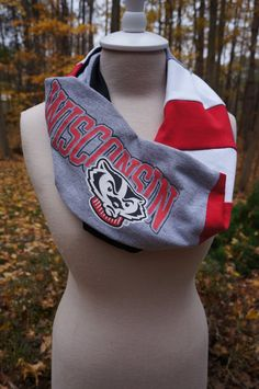 Recycled tshirt Wisconsin Badgers infinity scarf by tenthreads