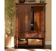 Mason Media Armoire - Rustic Mahogany finish from Pottery Barn. Shop more products from Pottery Barn on Wanelo. Armoire Redo, Tv Armoire, Antique Armoire, Corner Armoire, Corner Hutch, Corner Tv, Tv In Bedroom, Bedroom Dressers, Trendy Bedroom